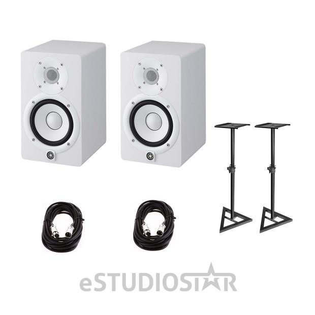 Yamaha hs5 5 inch powered studio monitor white pair w for Yamaha hs5 speaker stands