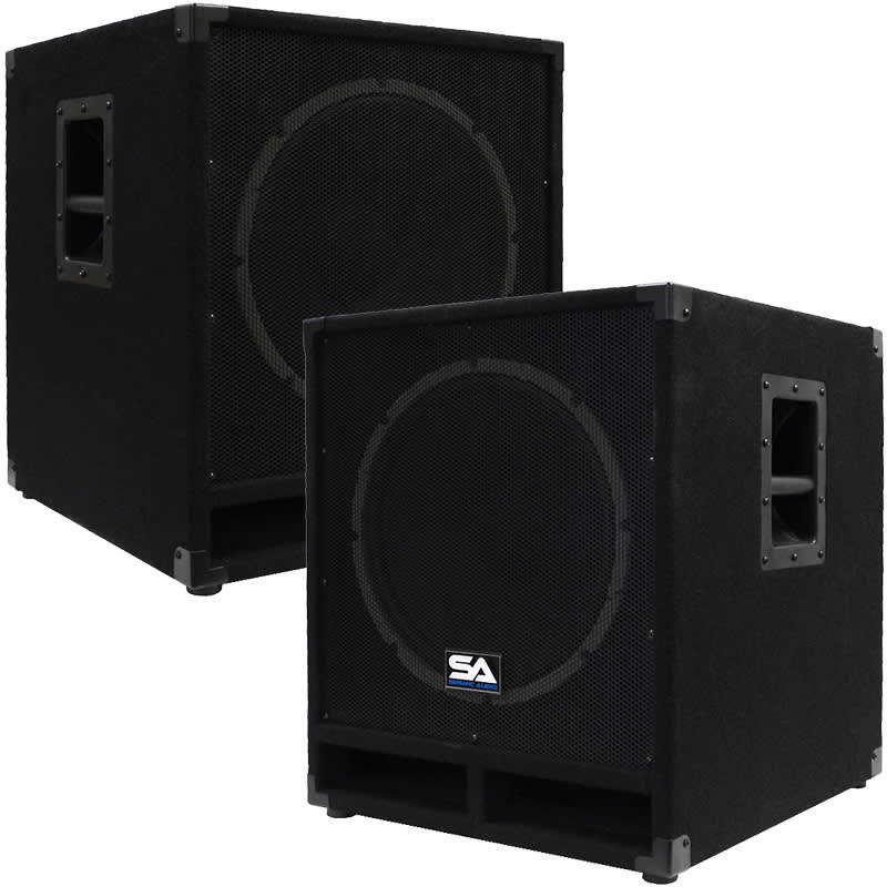 pair of powered 15 subwoofer cabinets pa dj pro audio. Black Bedroom Furniture Sets. Home Design Ideas