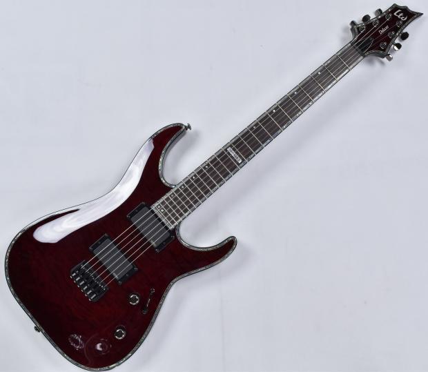 esp ltd deluxe h 1000 qm electric guitar in see thru black cherry reverb. Black Bedroom Furniture Sets. Home Design Ideas