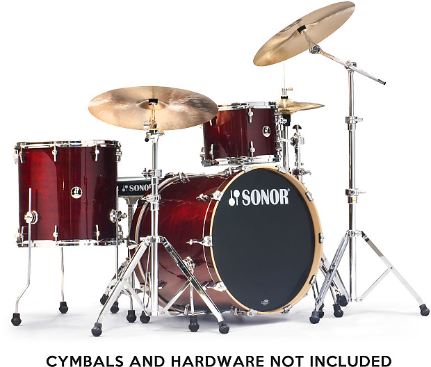 Sonor sse session maple 3 pc shell pack trans red w 18 22 for 16 x 12 floor tom