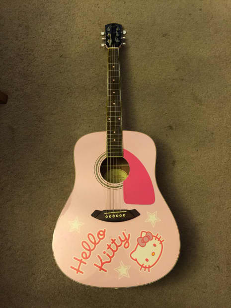 fender squier hello kitty pink acoustic guitar sanrio reverb. Black Bedroom Furniture Sets. Home Design Ideas