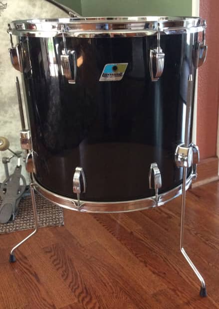 Rare 70s Ludwig Vistalite 18 Black Smoke Floor Tom B O