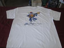 Blue Frog Custom Guitars Made in the USA  T-shirt  White / Blue and Grey/Blue image