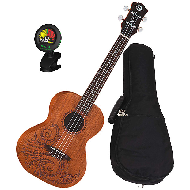 Luna tattoo mahogany concert ukulele bundle reverb for Housse ukulele concert