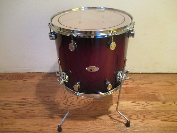 Dw pacific 16 x 14 floor tom on legs red sparkle fade for 16 x 14 floor tom