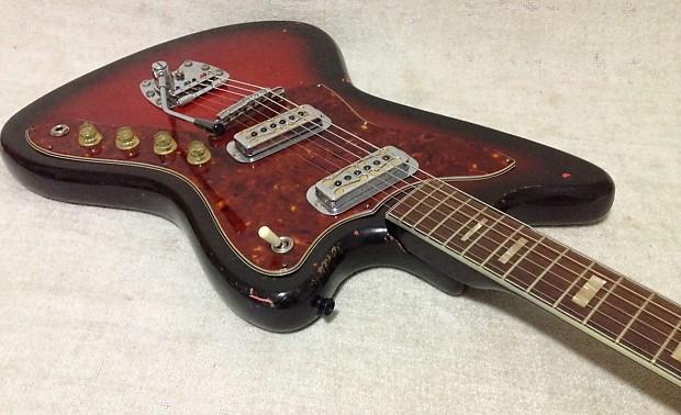 harmony silhouette h19 electric guitar w case 1960 39 s redburst reverb. Black Bedroom Furniture Sets. Home Design Ideas