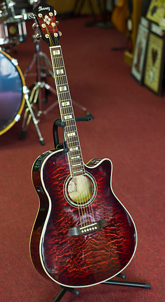 ibanez aef37 tcs op 01 acoustic electric guitar red quilted reverb. Black Bedroom Furniture Sets. Home Design Ideas