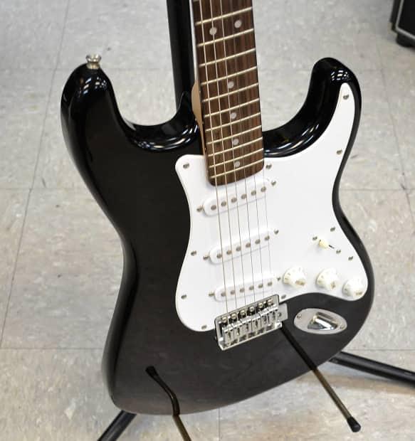 fender starcaster strat 6 string electric guitar black reverb. Black Bedroom Furniture Sets. Home Design Ideas