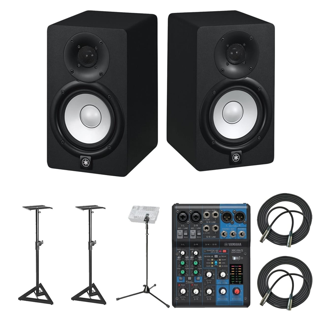 Yamaha hs5 powered studio audio monitor 2 pack with 25 for Yamaha hs5 speaker stands