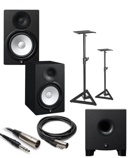Yamaha hs8 2 way 8 powered studio monitor bundle w sub for Yamaha hs8 sub