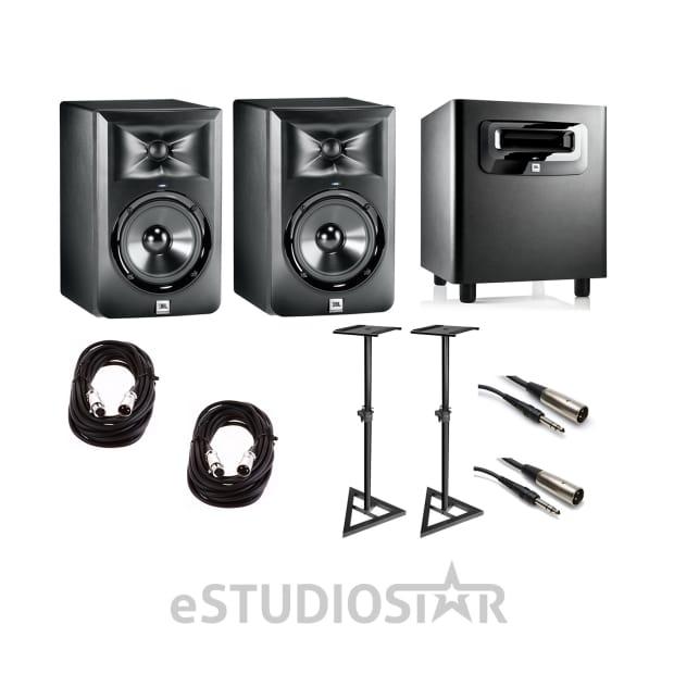 pair jbl lsr 305 powered studio monitors lsr 310s subwoofer reverb. Black Bedroom Furniture Sets. Home Design Ideas