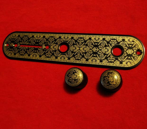 Daves Auto Sales >> Telecaster Control plate. gold & black filigree style   Reverb