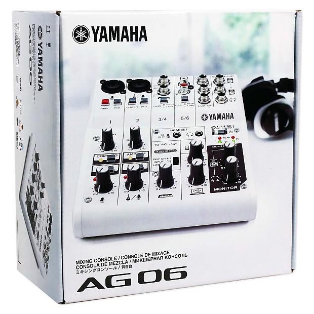 Yamaha ag06 recording mixer with ts to ts guitar cable for Yamaha mg10xu usb cable