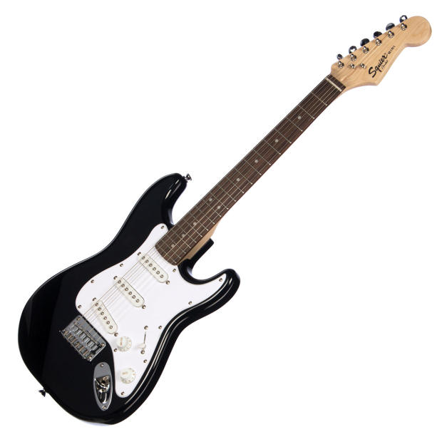 squier mini strat 3 4 scale fender stratocaster kid size beginner travel electric guitar. Black Bedroom Furniture Sets. Home Design Ideas