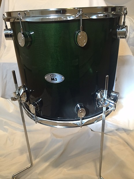 pdp by dw m5 14x16 maple floor tom emerald green to
