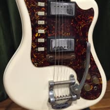 Rare Supro Lexington White Resoglass Jaguar Style Guitar image