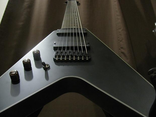 schecter flying v 8 2012 black satin left handed eight string reverb. Black Bedroom Furniture Sets. Home Design Ideas