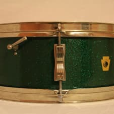 Ludwig 14x5 Pioneer Snare Drum 1963 Green Sparkle image