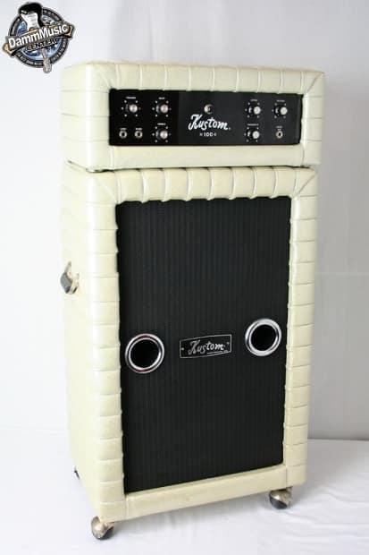 Vintage Kustom K100 2 Silver Tuck And Roll Guitar Head