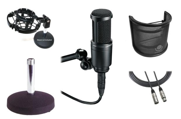 audio technica windtech at2020 bundle cardioid condenser reverb. Black Bedroom Furniture Sets. Home Design Ideas