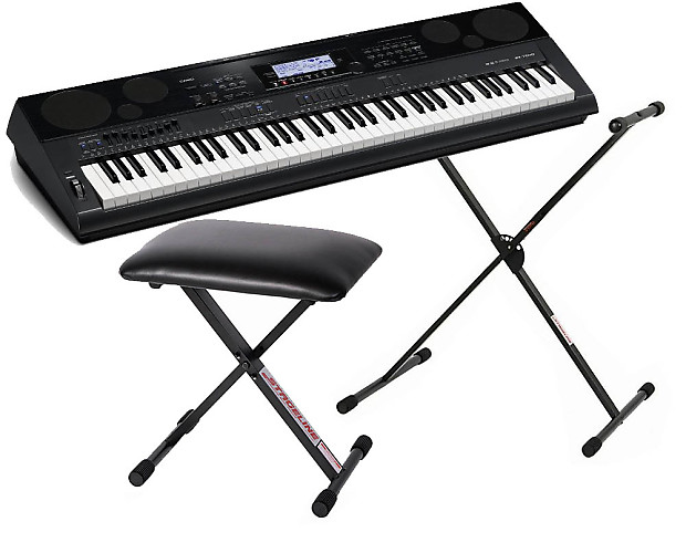 Casio wk 7500 digital keyboard workstation bundle with reverb Keyboard stand and bench