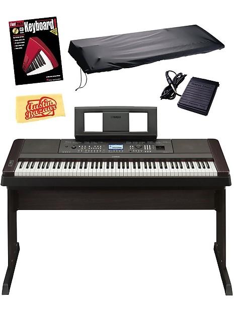 yamaha dgx650 digital piano w stand sustain pedal power reverb. Black Bedroom Furniture Sets. Home Design Ideas