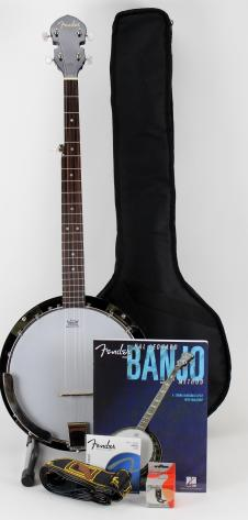 Free Shipping! Fender Concert Tone Banjo Pack Includes Gig Bag, Strap, Tuner,  Extra Strings image