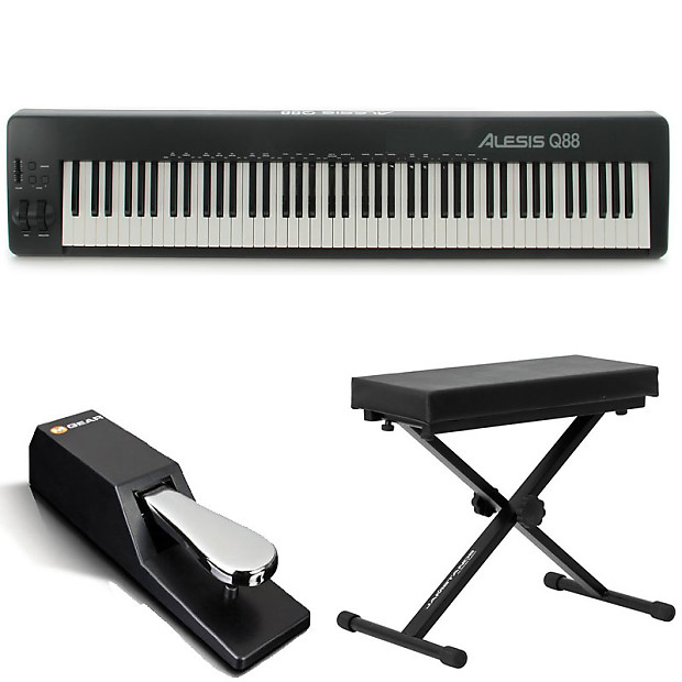 alesis q88 88 key usb midi keyboard controller with pitch reverb. Black Bedroom Furniture Sets. Home Design Ideas