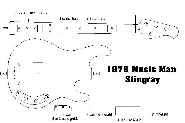 1976 Music Man Stingray Bass Routing Template Vinyl