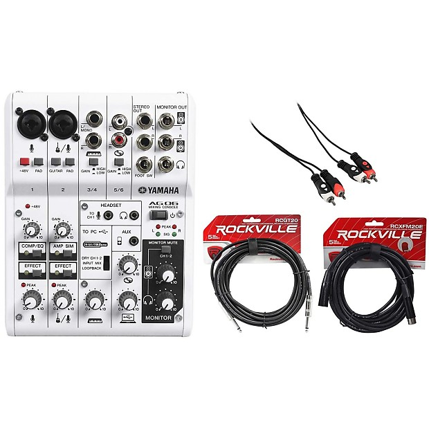 yamaha ag06 recording mixer with ts to ts guitar  cable