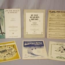 1930's Era Oahu Hawaiian Guitar Sheet Music, 6 piece lot image