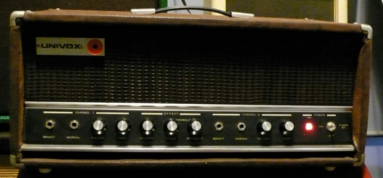 1970 univox 1221 50 watt tube electric guitar amplifier head reverb. Black Bedroom Furniture Sets. Home Design Ideas