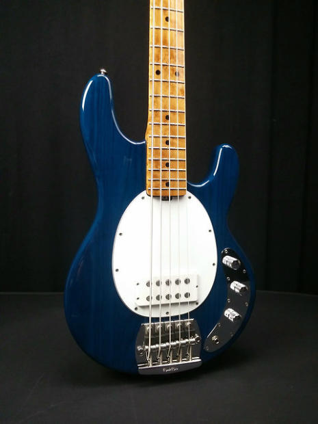 music man stingray classic 5 string bass trans blue white pickguard reverb. Black Bedroom Furniture Sets. Home Design Ideas