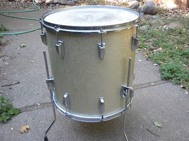 1964 ludwig silver sparkle floor tom drum 16 x16 reverb for 18 inch floor tom for sale