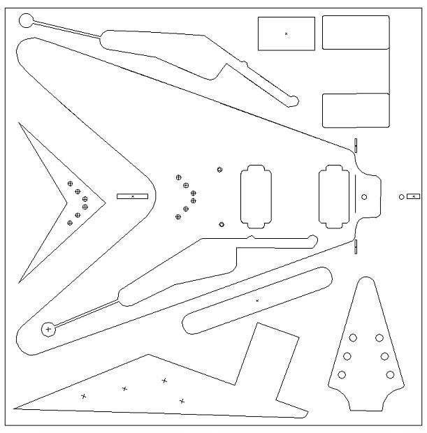 1959 flying v routing template  vinyl sticker for guitar