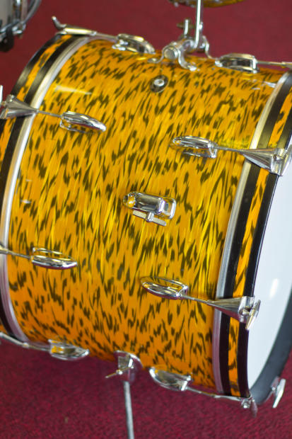 Vintage Slingerland Yellow Tiger Pearl Drum Kit 20x14 13x9