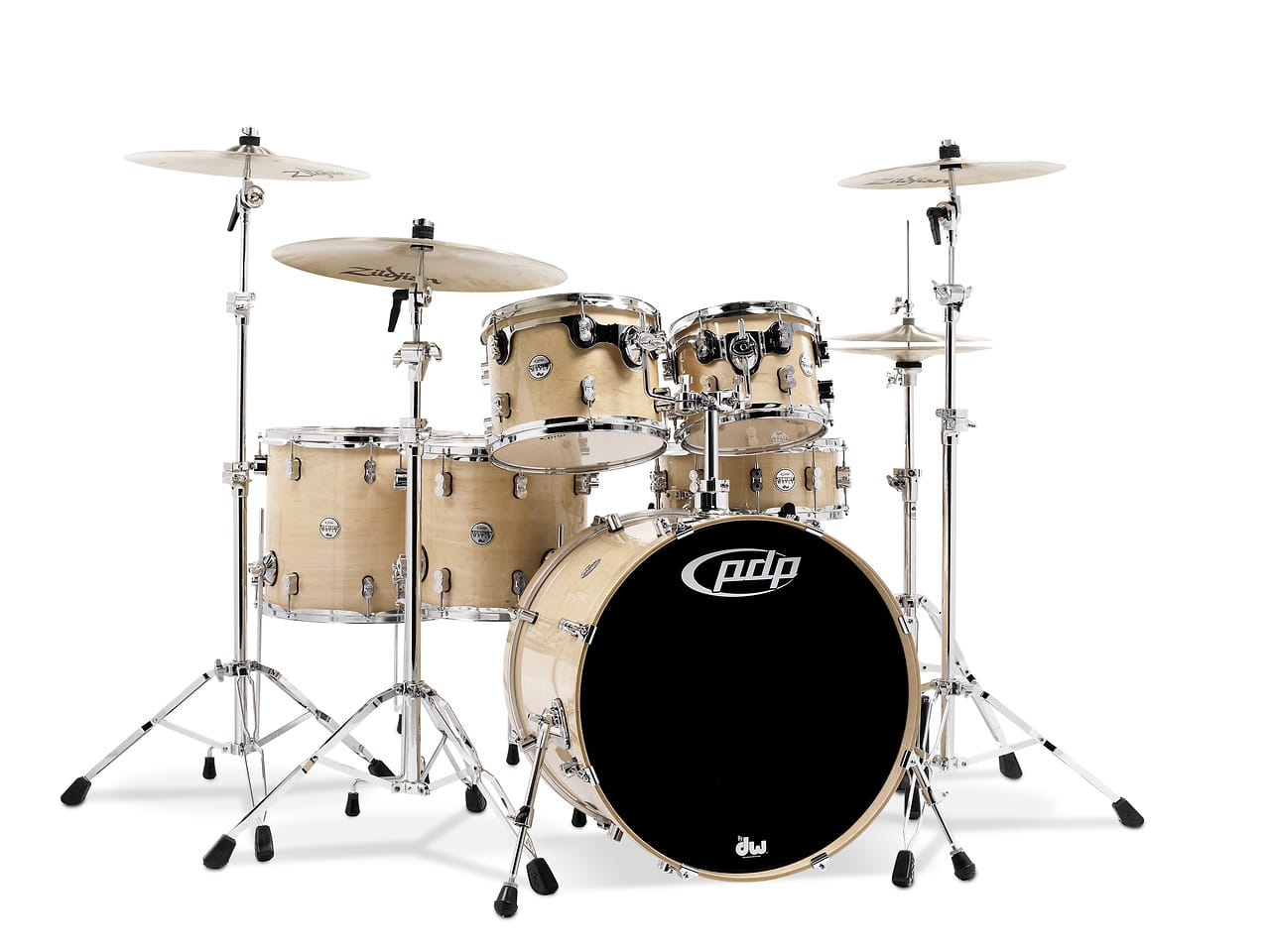 Concept maple by dw natural lacquer chrome hw 6 pcs for 16 x 12 floor tom