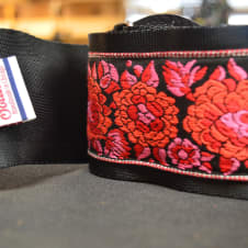 """New! Souldier Strap """"Red Roses"""" USA Handmade Custom 3'' Bass Strap Free Shipping image"""