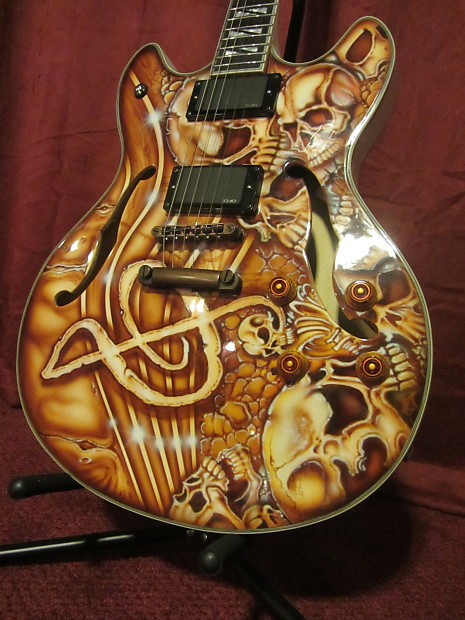 boogie street guitars custom washburn hollow body painted by reverb. Black Bedroom Furniture Sets. Home Design Ideas