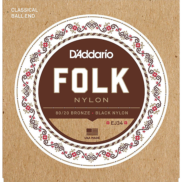D'Addario EJ34 Folk Nylon Guitar Strings Ball End 80/20 ...