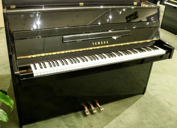 Used yamaha lu 11 console piano polished ebony w bench for Yamaha console piano prices