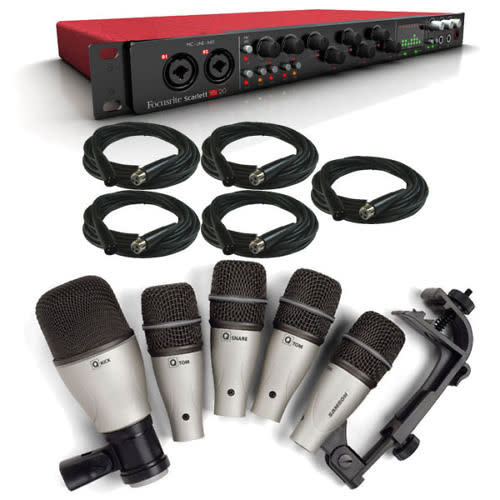 focusrite scarlett 18i20 usb audio interface with 5 piece drum mic set xlr cables reverb. Black Bedroom Furniture Sets. Home Design Ideas