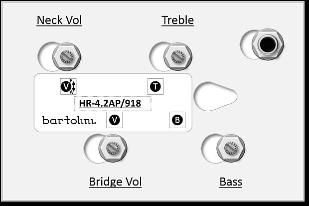 bartolini 4 2ap 2-pickup 4-knob 2-band vol p  p a  p
