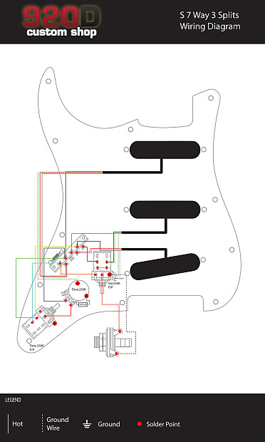fender strat stratocaster 7 way wiring harness push