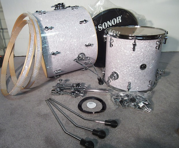 Sonor s classix birch 4 piece kit white pearl 22 kick 16 for 16 x 12 floor tom
