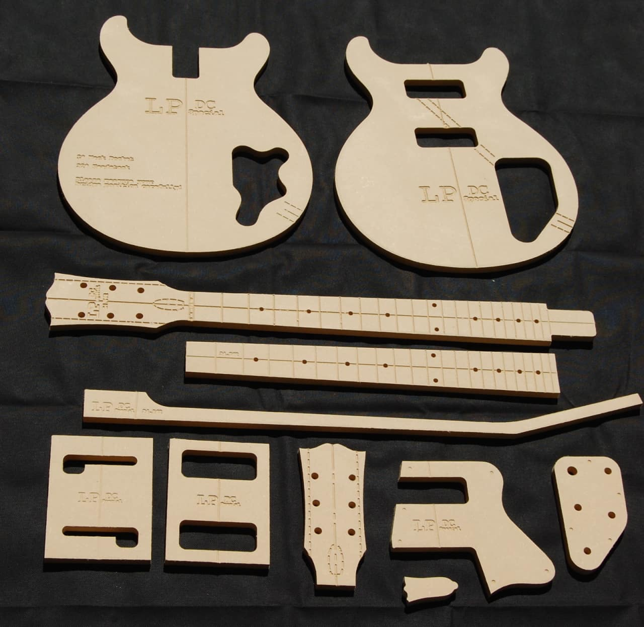 Lp dc special guitar router template set 1 2 mdf cnc for Router templates for signs