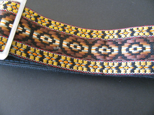 Near Mint Vintage Woven Tapestry and Leather Guitar Strap