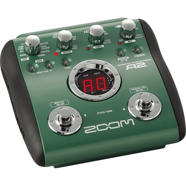 zoom a2 acoustic guitar multi effects pedal preamp modeling reverb. Black Bedroom Furniture Sets. Home Design Ideas
