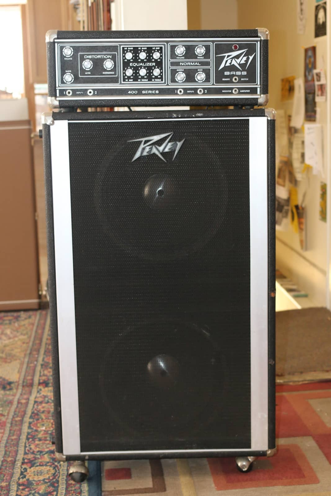 Peavey 400 series head w 2x15 cabinet black silver reverb for Black and silver cabinet