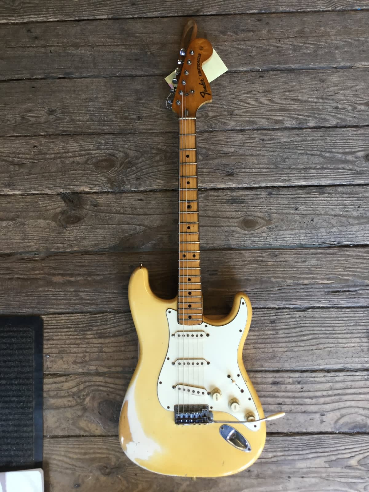 fender stratocaster 1973 yellowed olympic white reverb. Black Bedroom Furniture Sets. Home Design Ideas
